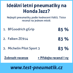Test pneumatik na Honda Jazz