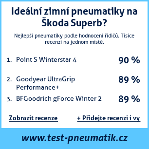 Test pneumatik na Škoda Superb